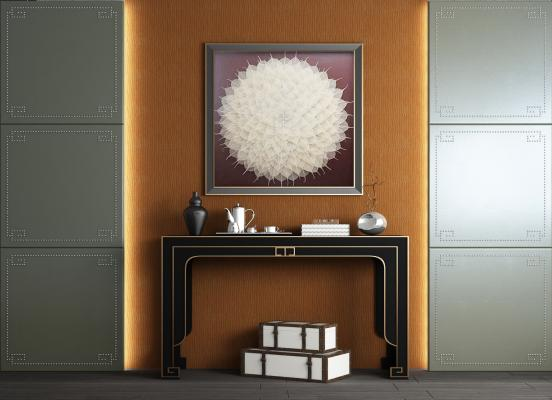 欧式皮革硬包背景墙 端景柜 玄关柜 边柜 端景台 玄关背景 端景