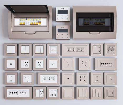 现代开关 插座面板 强电箱组合 开关 智能开关