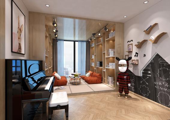 现代儿童娱乐室 钢琴