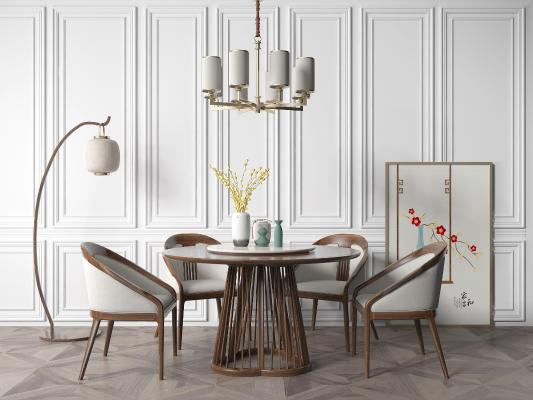 新中式圆餐桌椅