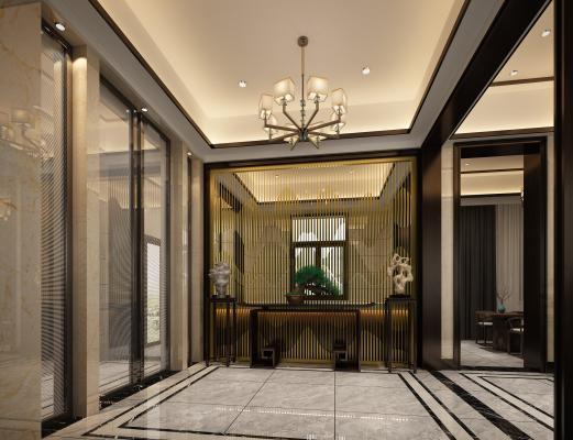 新中式別墅玄關 樓梯間