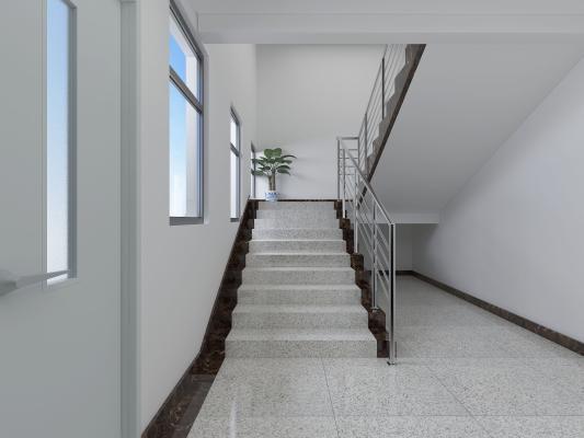 现代风格楼梯间 防火门 绿植