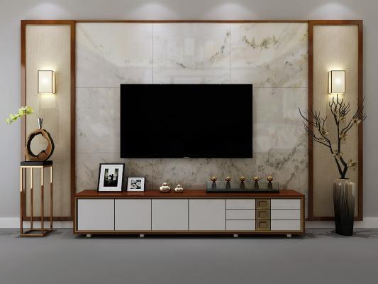 新中式电视柜 电视墙