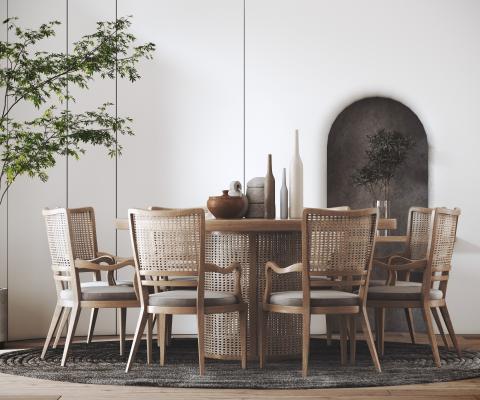 侘寂餐桌椅組合 藤編餐桌椅