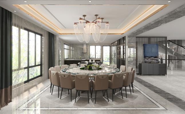 新中式餐厅 大圆桌