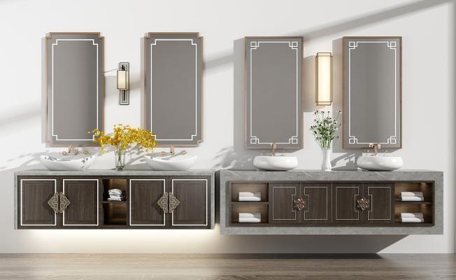 新中式洗手台 洗手盆组合