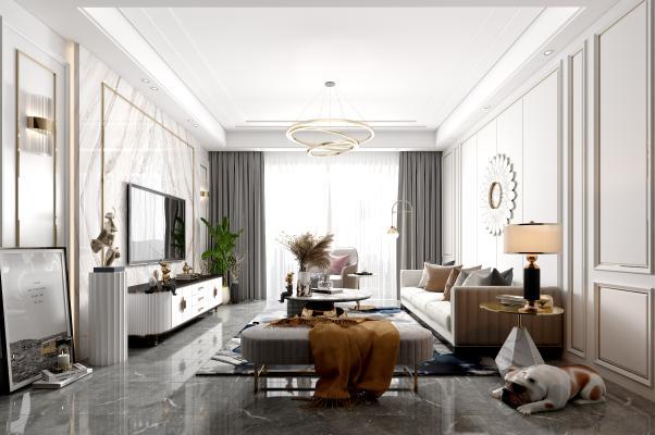 现代客厅 沙发茶几组合 电视柜背景墙