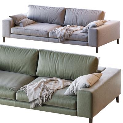 现代皮革布艺双人沙发