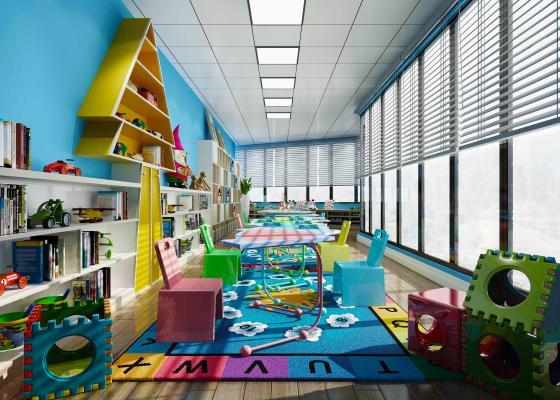 现代幼儿园活动室 娱乐室 儿童游乐园 儿童椅 儿童玩具 书柜