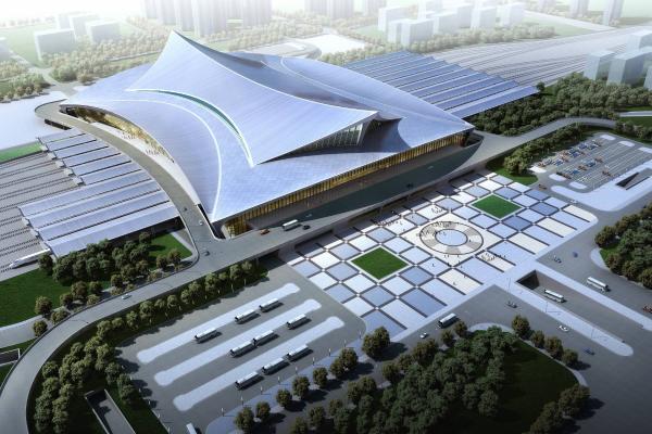 现代成都火车站 高铁站 建筑外观