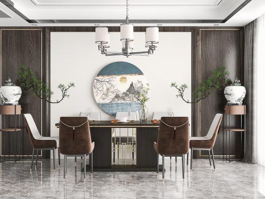 新中式餐厅 餐桌椅 吊灯