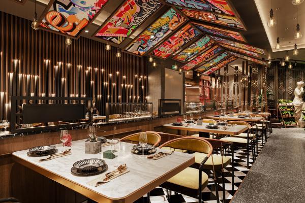现代风格餐厅餐饮 前台 酒柜