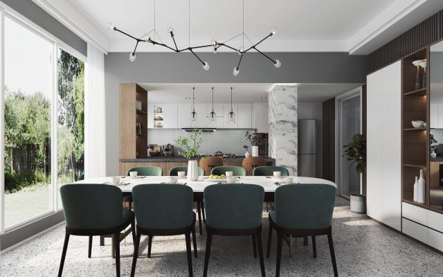 北欧餐厅 厨房 餐桌椅 餐具组合