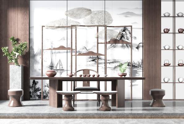 新中式风格茶桌椅