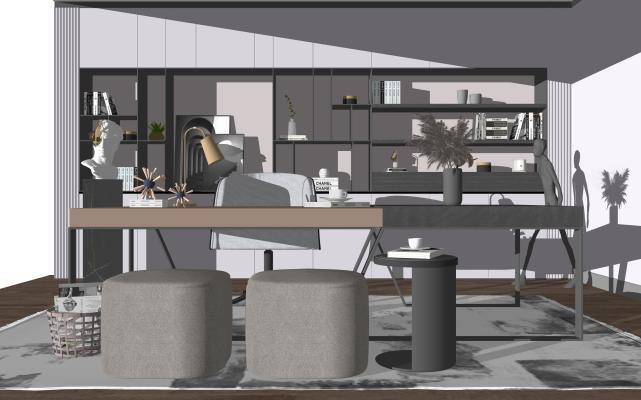 现代家居书房 书桌椅 雕塑组合