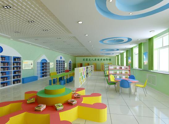 现代风格图书馆 图书阅览室