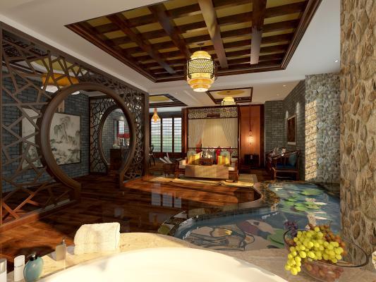 传统中式酒店客房