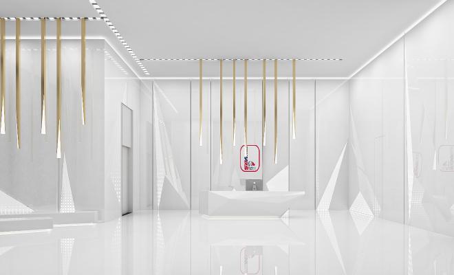 现代公司大厅前台接待 金属吊灯