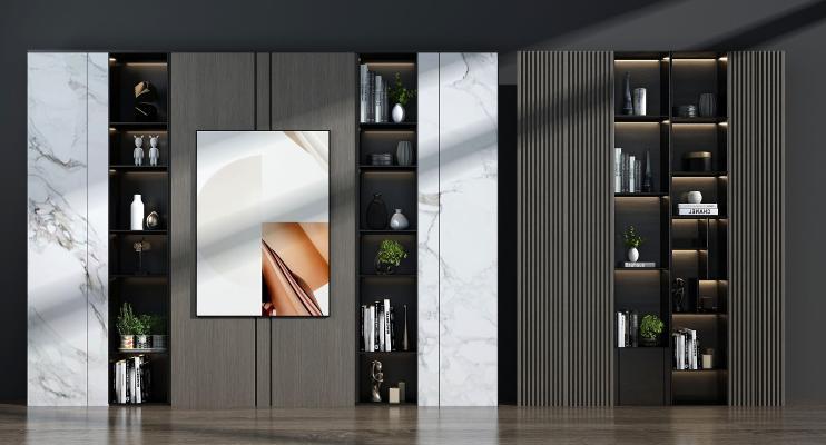 现代装饰柜架 书架