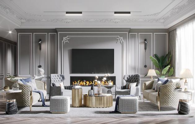 美式轻奢客厅 沙发组合 沙发椅 茶几 绿植 壁炉