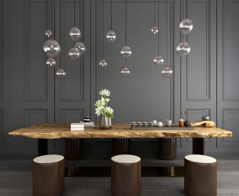 现代茶桌椅吊灯组合 新中式茶桌椅组合 休闲茶桌椅组合 休闲桌椅 现代灯泡吊灯 金属吊灯 木质茶桌椅组合