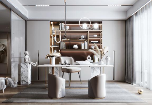 现代风格书房 书柜 书桌