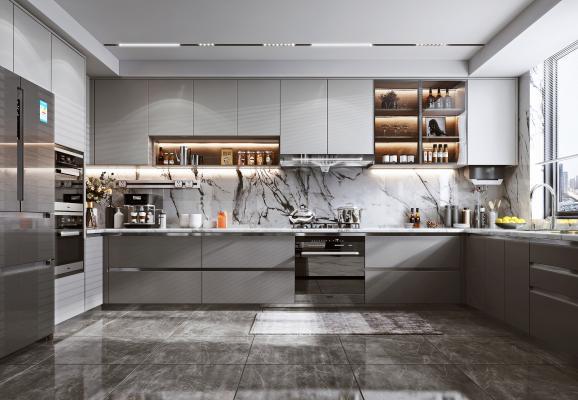 现代风格厨房 橱柜 油烟机 灶具