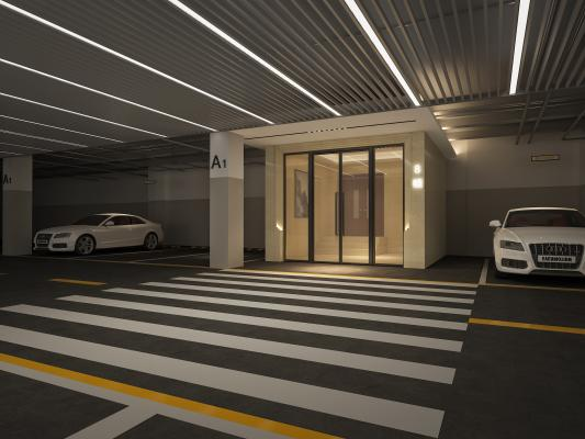 现代地下停车场 地下室入户通道