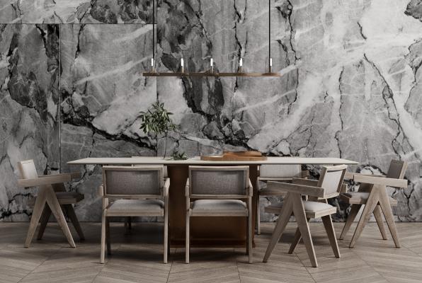 现代餐桌椅组合 吊灯 花艺摆件