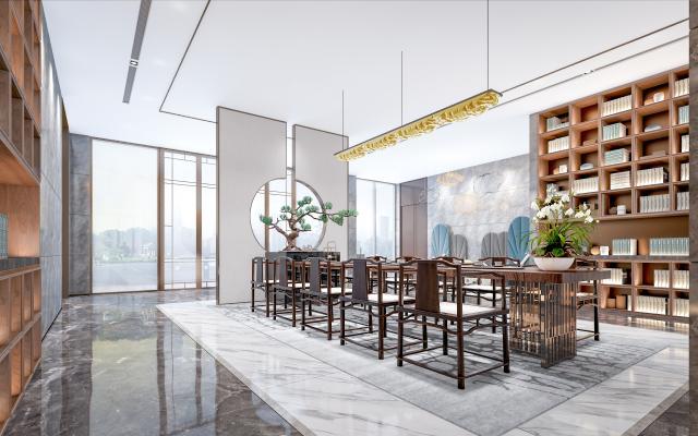 新中式茶室 售楼处 书吧