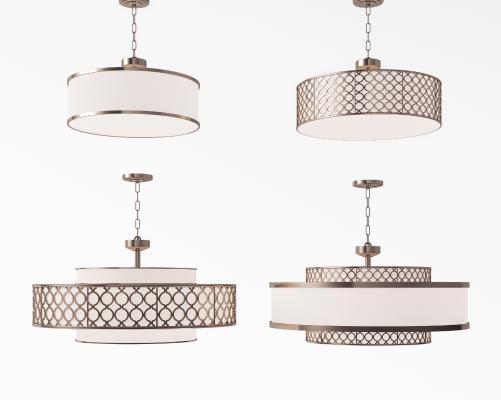 新中式金属吸顶灯吊灯组合