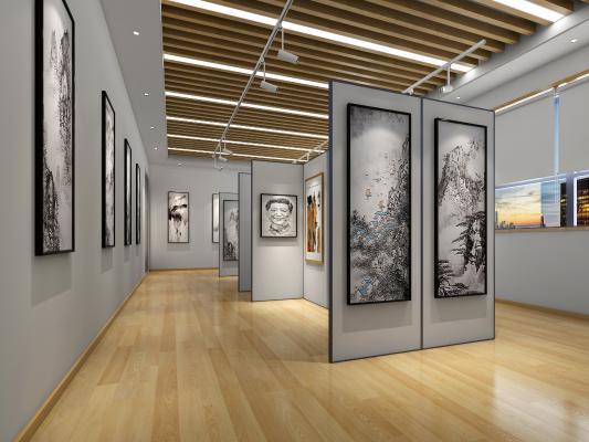 现代书画展厅 吊灯 挂画