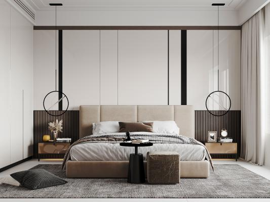 现代轻奢房间3d