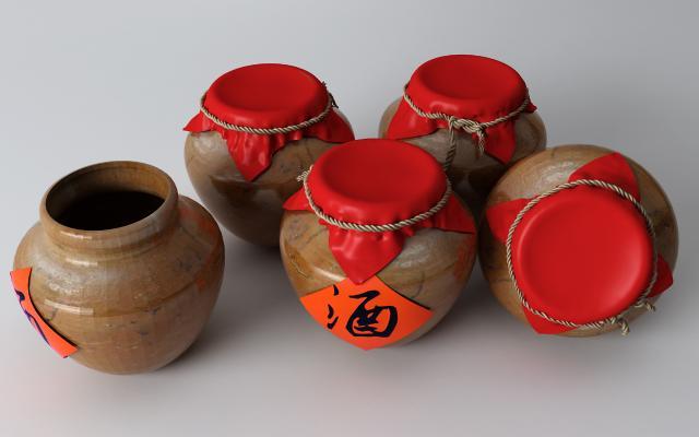 中式酒坛酒水