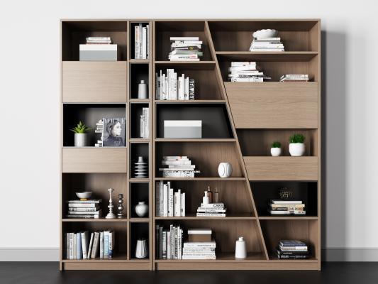 北欧书柜组合 书 植物