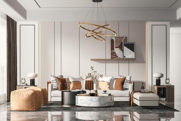 現代客廳 多人沙發 休閑椅