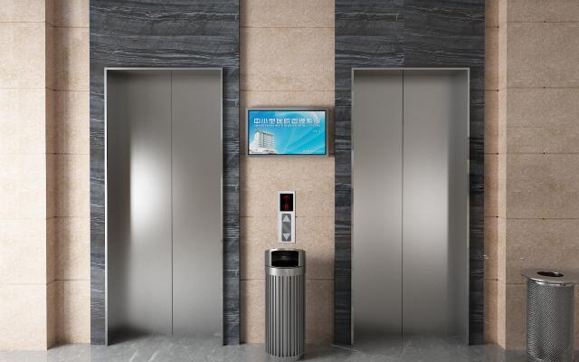 现代公司过道 电梯间 垃圾桶
