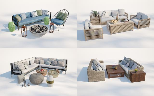 现代庭院小品 沙发茶几组合 庭院桌椅
