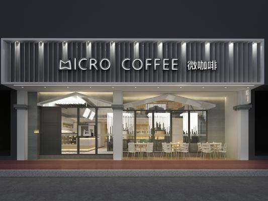 现代咖啡厅门头 咖啡馆 门头装饰