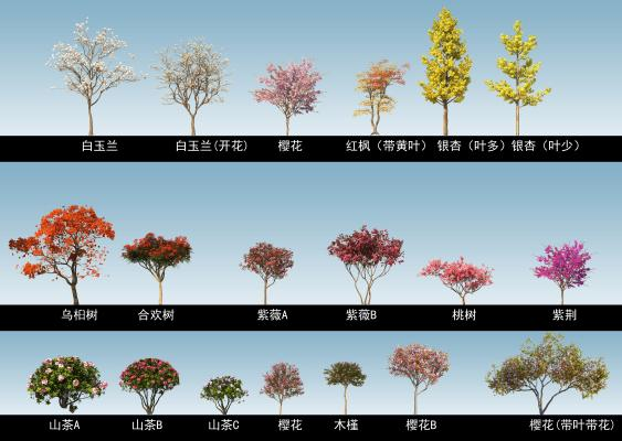 现代木头景观树 彩色树 公园树