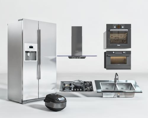 现代烤箱 油烟机 煤气灶 水槽 冰箱 厨房 电器