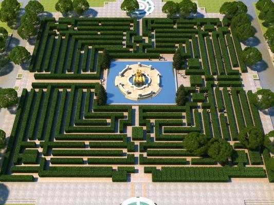 欧式古典园林鸟瞰 喷泉 迷宫