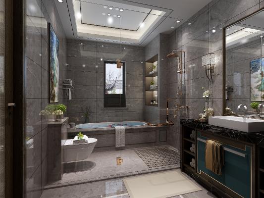 现代卫生间浴缸 墙排马桶 挂画