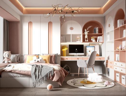 现代儿童房 儿童床 装饰品