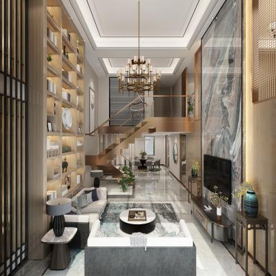 新中式客厅 餐厅 厨房 吊灯 书柜