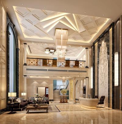欧式古典会所大厅 吊灯 沙发