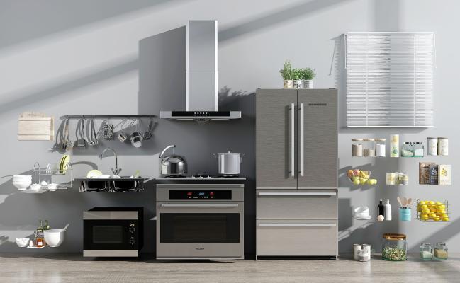 现代厨具 电器 摆设用品组合