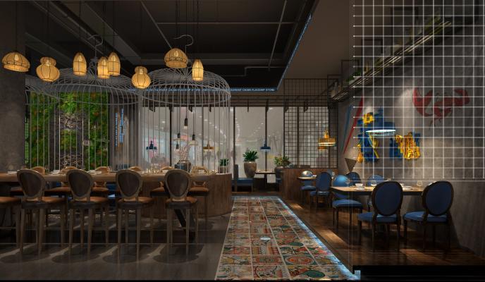工业风海鲜餐厅 餐桌椅