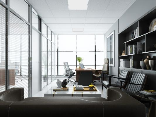 现代总经理室办公室 挂画 书柜