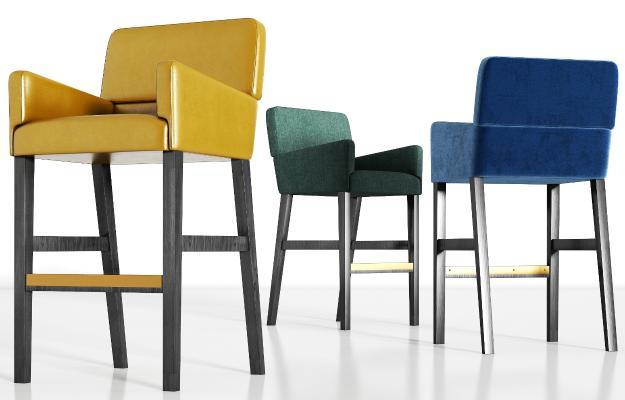 现代实木轻奢皮革绒布吧椅组合